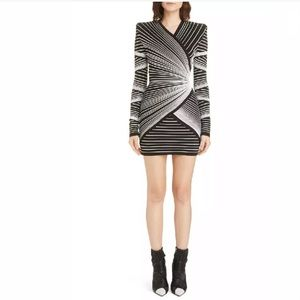 BALMAIN Black White Optical Effect Faux Wrap Dress